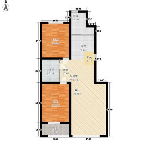 蒙鑫国际名城2室0厅1卫1厨108.00㎡户型图