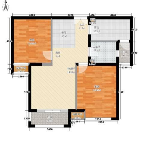 盘门路小区2室1厅1卫1厨69.35㎡户型图