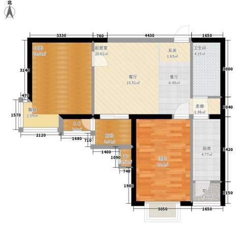 金洋华城2室0厅1卫1厨79.00㎡户型图