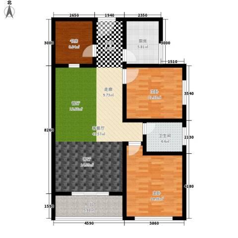 法苑小区3室1厅1卫1厨104.00㎡户型图