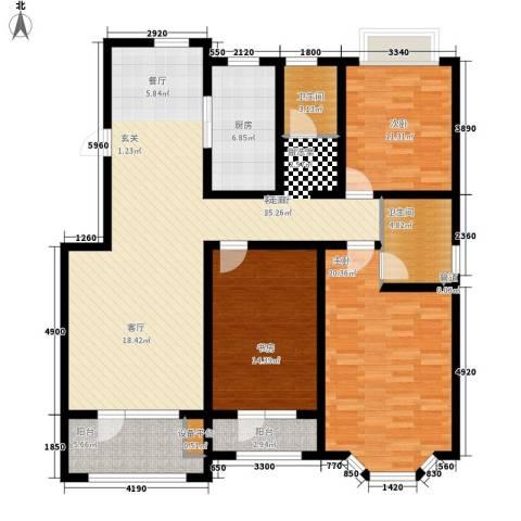 天房海滨园3室1厅2卫1厨135.00㎡户型图