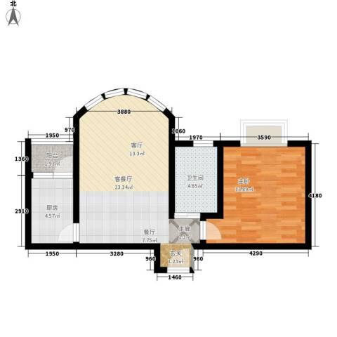 百年佳苑1室1厅1卫1厨56.00㎡户型图