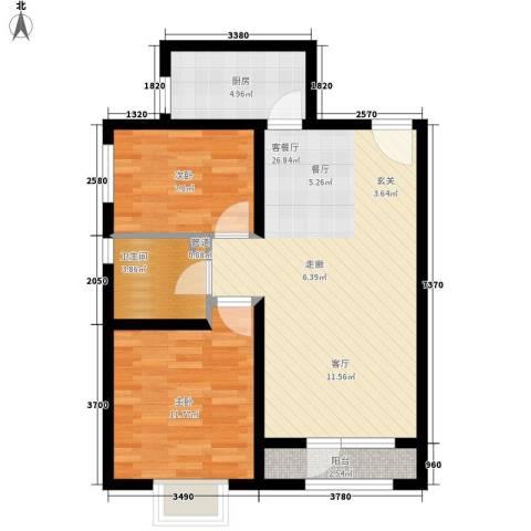天房海滨园2室1厅1卫1厨88.00㎡户型图