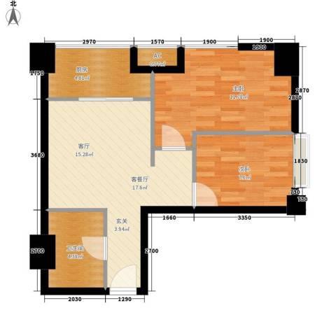 高新水晶城2室1厅1卫1厨74.00㎡户型图