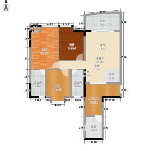 青春3室1厅2卫1厨113.00㎡户型图