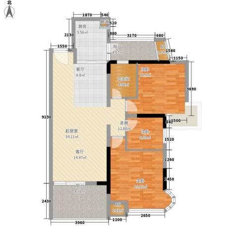 现代城市花园3室0厅1卫1厨103.00㎡户型图