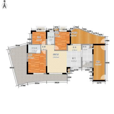 现代城市花园3室0厅2卫1厨137.00㎡户型图