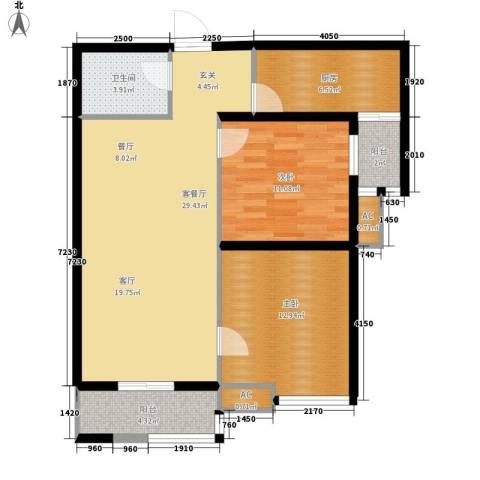 嘉禾广运2室1厅1卫1厨94.00㎡户型图