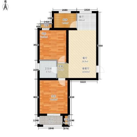 北斗星城御府2室1厅1卫1厨82.00㎡户型图