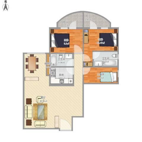 嘉怡苑3室1厅2卫1厨115.00㎡户型图