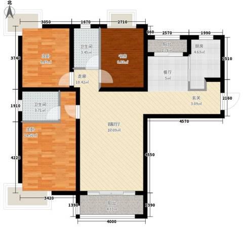 久华里3室1厅2卫1厨125.00㎡户型图