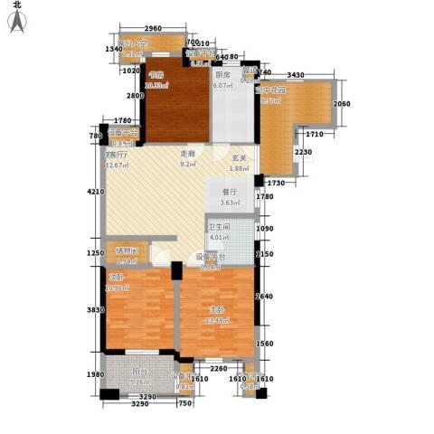 港城凯旋国际3室1厅1卫1厨115.00㎡户型图