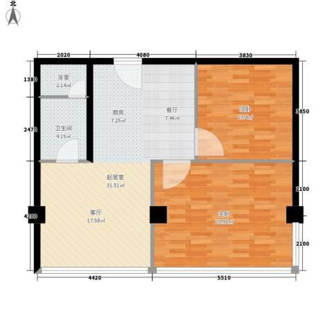 鼎泰精装公寓2室0厅1卫0厨90.00㎡户型图
