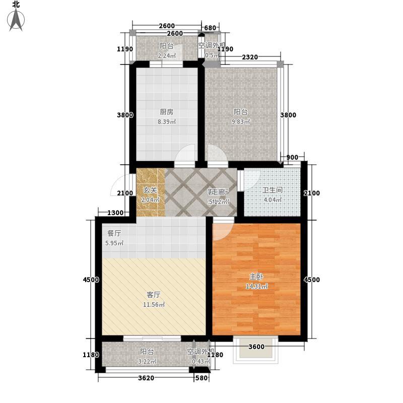 国际城85.00㎡国际城两室两厅一卫户型