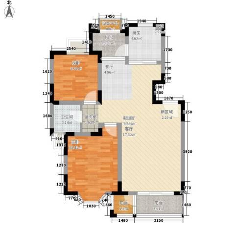 盘门路小区2室1厅1卫1厨74.26㎡户型图