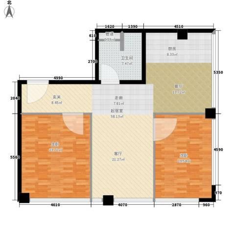 鼎泰精装公寓2室0厅1卫0厨130.00㎡户型图