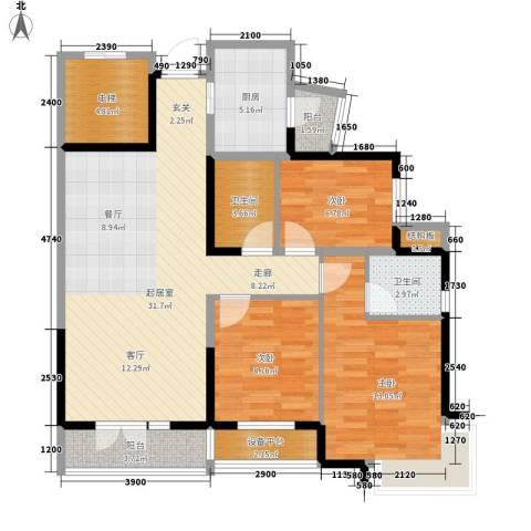 宝翠花都听景园3室0厅2卫1厨121.00㎡户型图