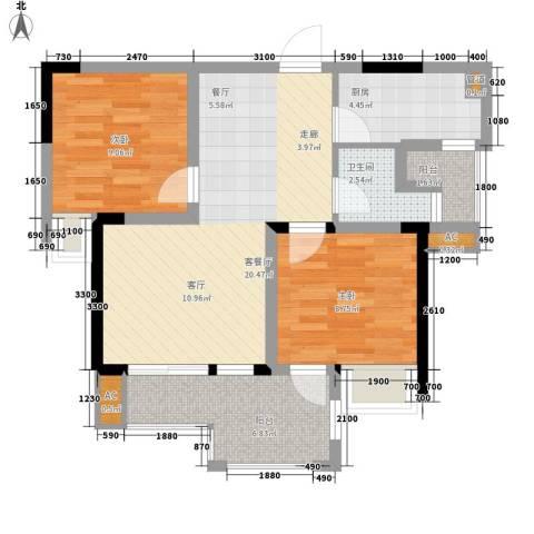 希望城2室1厅1卫1厨69.00㎡户型图