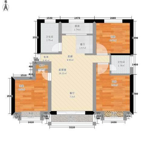 领南庄园3室0厅2卫1厨66.00㎡户型图
