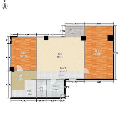 鼎泰精装公寓2室0厅1卫0厨161.00㎡户型图
