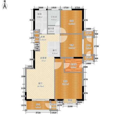 建投十号院3室0厅2卫1厨121.00㎡户型图
