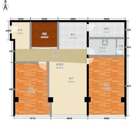 鼎泰精装公寓3室0厅1卫1厨186.00㎡户型图