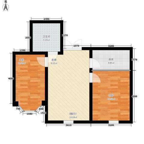 枫桥河畔2室1厅1卫1厨72.00㎡户型图