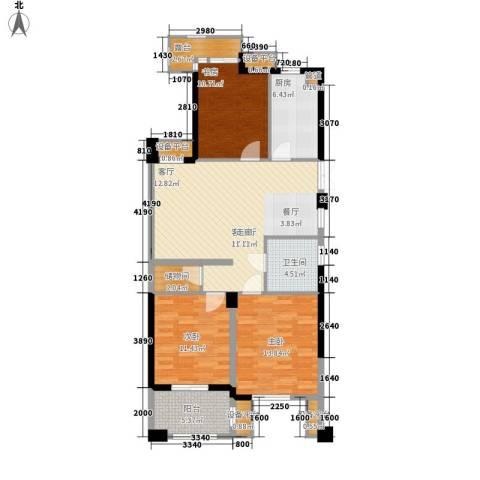 港城凯旋国际3室1厅1卫1厨110.00㎡户型图