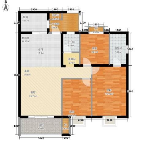银城壹号3室0厅2卫1厨144.00㎡户型图