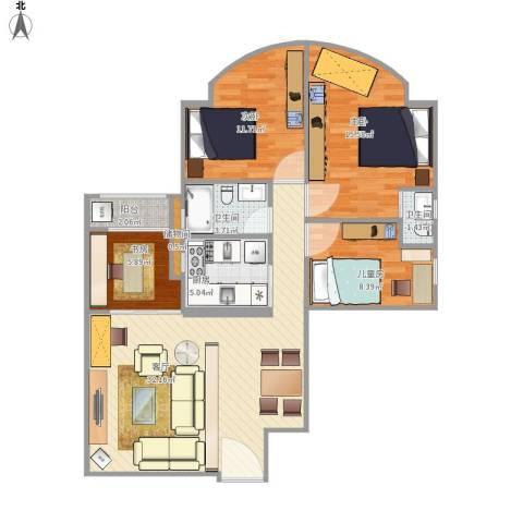 嘉怡苑4室1厅2卫1厨118.00㎡户型图