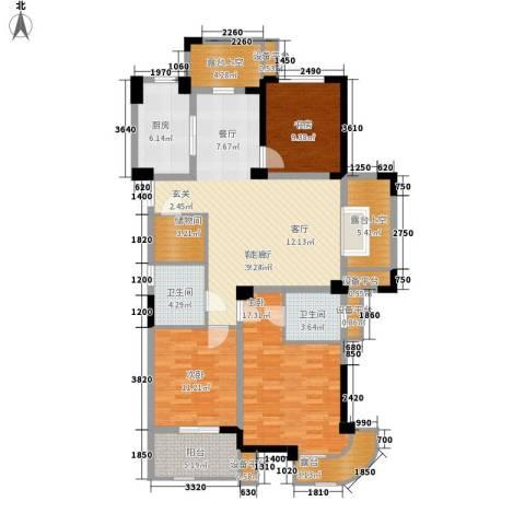 港城凯旋国际3室1厅2卫1厨127.00㎡户型图