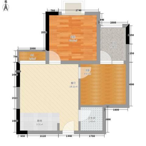 龙泉名都三期2室1厅1卫0厨64.00㎡户型图