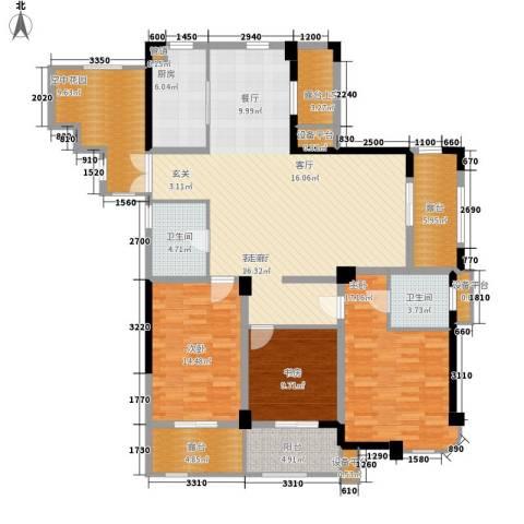 港城凯旋国际3室1厅2卫1厨148.00㎡户型图