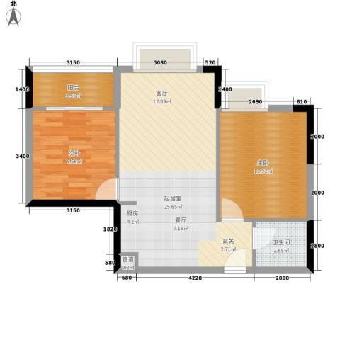 龙泉名都三期2室0厅1卫0厨75.00㎡户型图