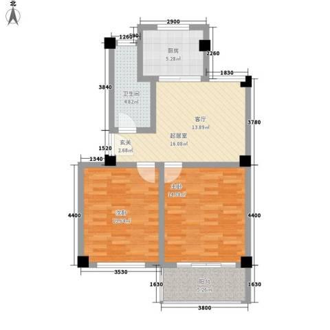 四季康城2室0厅1卫1厨70.00㎡户型图