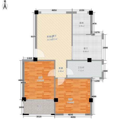 四季康城2室1厅1卫1厨86.00㎡户型图