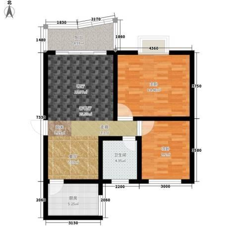 海德福苑2室1厅1卫1厨78.00㎡户型图