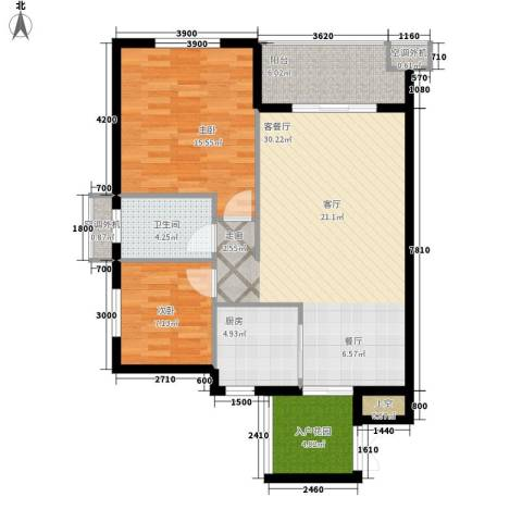 叠彩城一期2室1厅1卫1厨88.00㎡户型图
