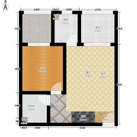 叠彩城一期1室2厅1卫1厨90.00㎡户型图