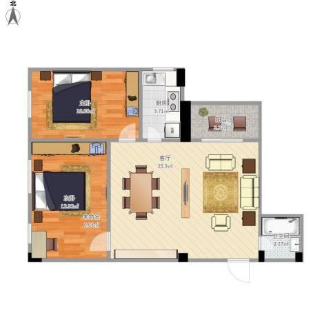 茶景阁2室1厅1卫1厨79.00㎡户型图