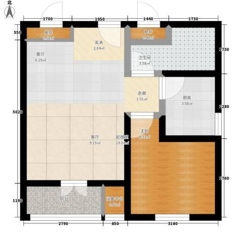 仁和宜佳公寓1室0厅1卫1厨76.00㎡户型图