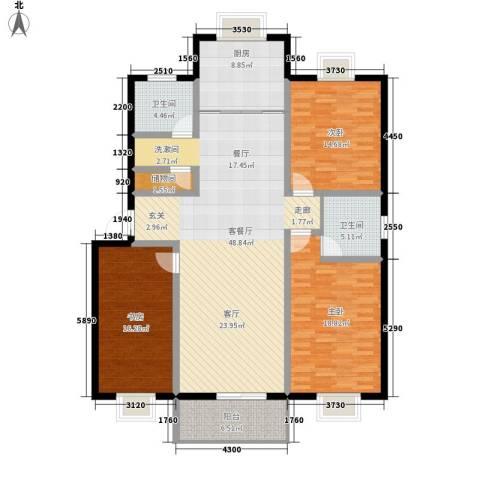 碧水蓝湾3室1厅2卫1厨141.00㎡户型图