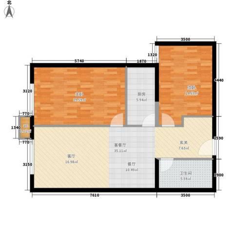 西美花城2室1厅1卫1厨90.00㎡户型图