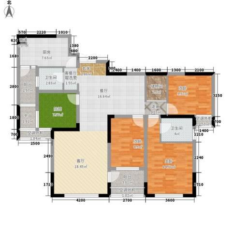 百年佳苑3室1厅2卫1厨107.46㎡户型图