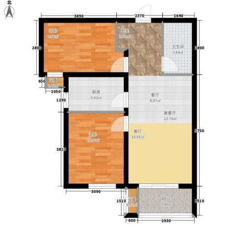 北斗星城御府2室1厅1卫1厨83.00㎡户型图