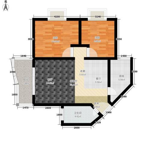 海德福苑2室1厅1卫1厨81.00㎡户型图