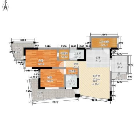 大竹林商业中心2室0厅2卫1厨104.00㎡户型图