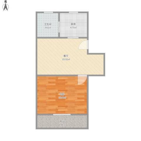 交暨路65弄小区1室1厅1卫1厨56.00㎡户型图