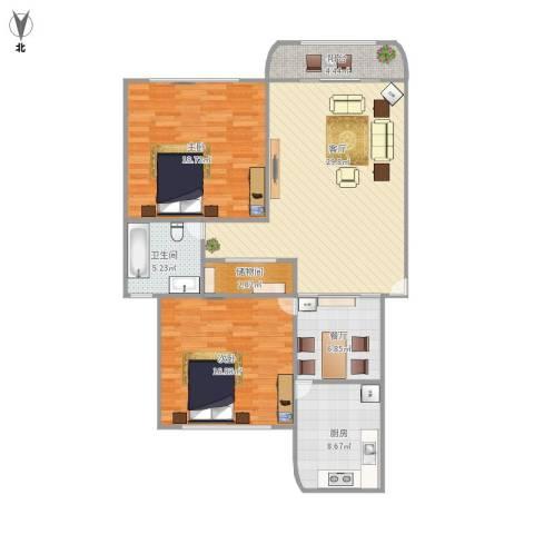 虹德苑2室2厅1卫1厨125.00㎡户型图