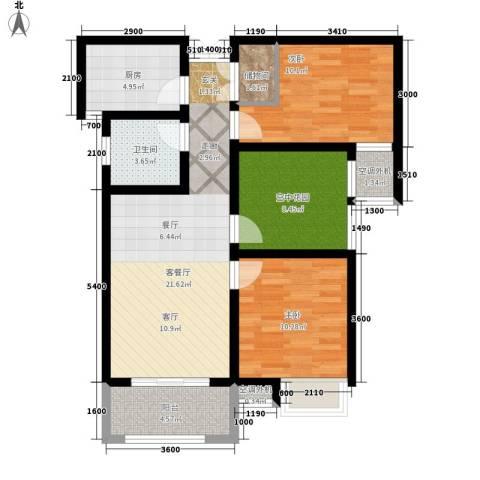 冠景凯旋门2室1厅1卫1厨89.00㎡户型图